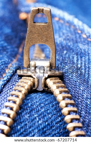 Zipper a detail of jeans close up - stock photo
