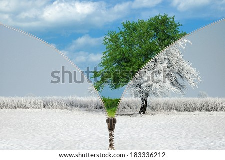 Zipper and changing seasons, winter and summer - stock photo