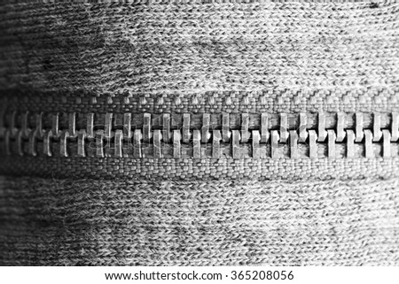 Zipper black and white - stock photo