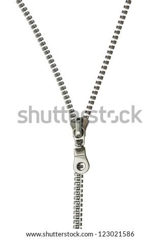 zipper isolated on white - stock photo