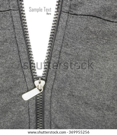 zipper of shirts on white isolate for fill text.