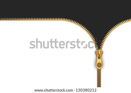 Zipper on White and Black Background - stock photo