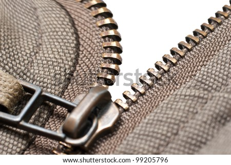 Zipper on white background. Isolated - stock photo