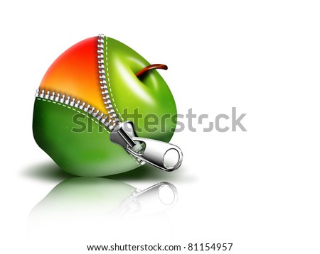 zipper opening the apple on a black background - stock photo
