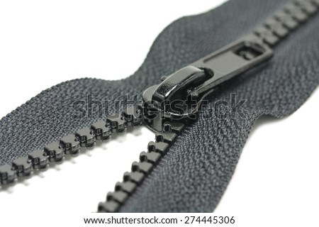 Zips for clothes in black on a white background - stock photo