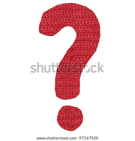 znak question mark knitted spokes structure - stock photo
