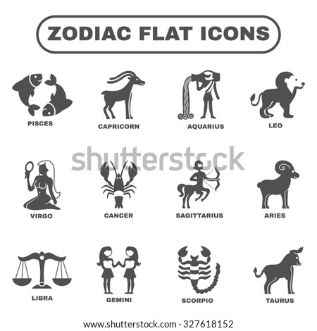 Zodiac Horoscope Symbols Black Flat Icons Stock Illustration