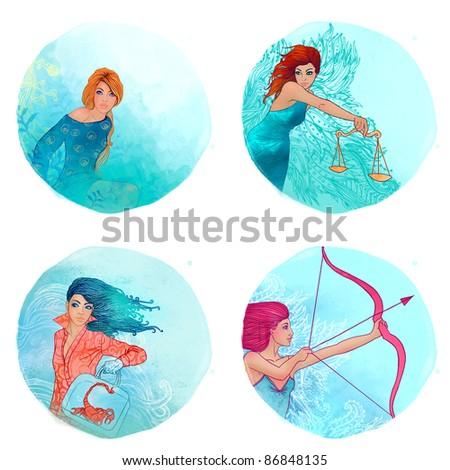 Zodiac girls set: Virgo, Libra, Scorpio, Sagittarius - stock photo