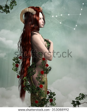 Zodiac series - Capricorn like a beautiful woman - stock photo