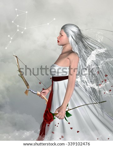 Zodiac series - Sagittarius like a beautiful girl - stock photo