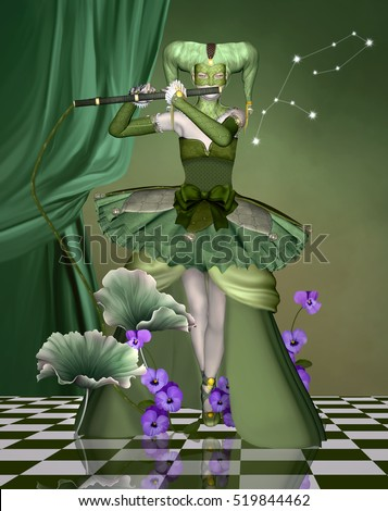Zodiac series - Virgo as a woman with mask with a flute and plants - 3D and digital painted illustration