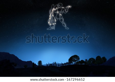 Zodiac Sign Aquarius with a star and symbol outline on a gradient sky background .Part of a Zodiac series .  - stock photo