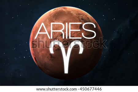 Zodiac sign - Aries. Elements of this image furnished by NASA - stock photo