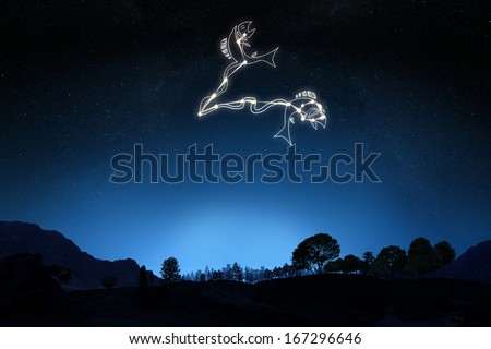 Zodiac Sign Pisces with a star and symbol outline on a gradient sky background  . Part of a Zodiac series - stock photo