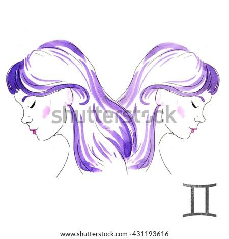 Zodiac sign, watercolor illustration Gemini, portrait Girl - stock photo