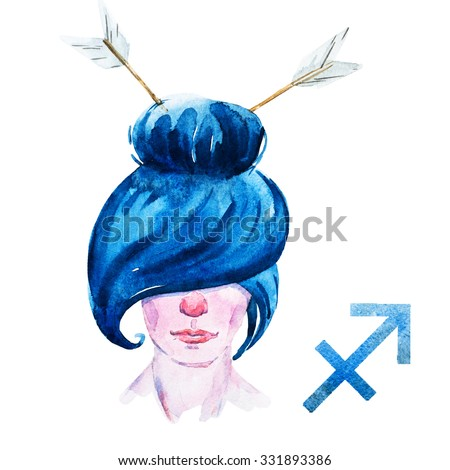 zodiac sign, watercolor illustration of woman,Sagittarius - stock photo