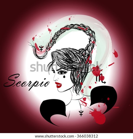 Zodiac signs. Girl. Scorpio - stock photo