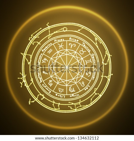 zodiac signs on brown background
