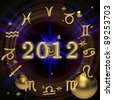 Zodiac signs on the background of digits 2012 - stock vector