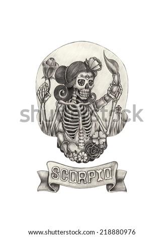 Zodiac Skull Scorpio.Hand drawing on paper. - stock photo