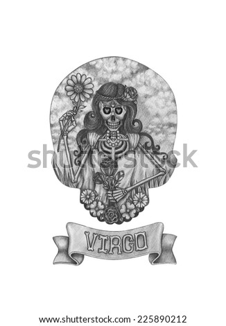 Zodiac Skull Virgo.Hand drawing on paper. - stock photo
