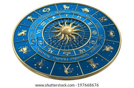Zodiac wheel - stock photo