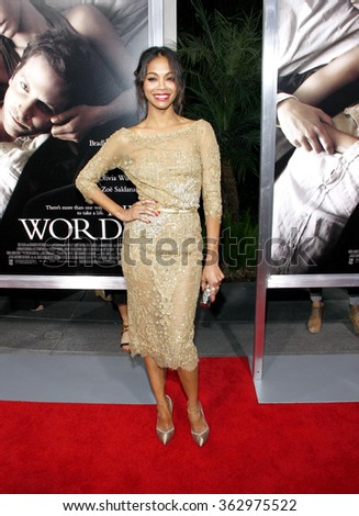 "Zoe Saldana at the Los Angeles premiere of ""The Words"" held at the ArcLight Theater in Los Angeles, California, United States on September 4, 2012."