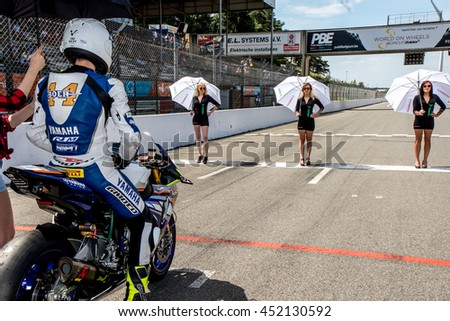 ZOLDER, BELGIUM - July 10, 2016: IDM SUPERBIKE, Formation with Grid Girls
