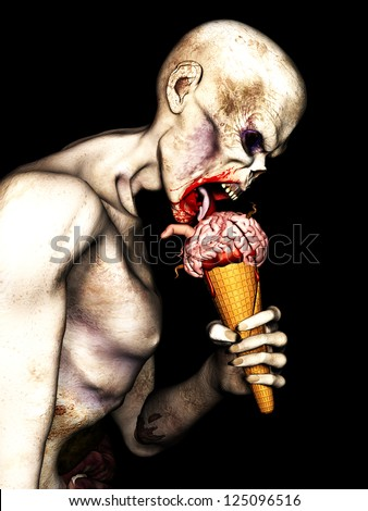 Zombie Brain Cream Cone - An angry undead zombie licking a Brain Cream Cone with brains, worms, a finger and blood on an ice cream cone. Isolated on a black background. - stock photo