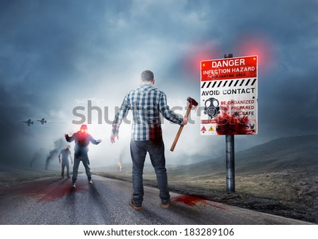 Zombie breakout - Contaminated Land with warning sign. - stock photo