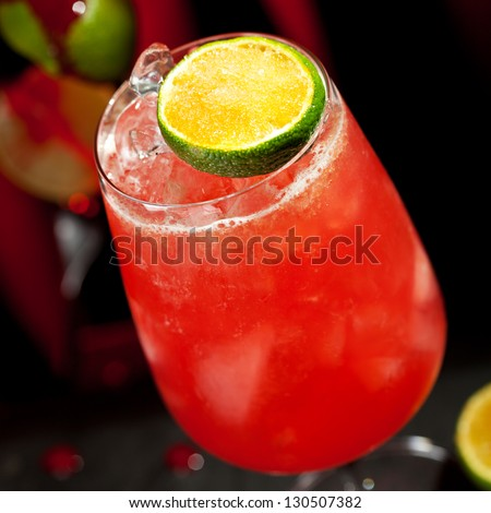 Zombie Cocktail - Dark and Light Rums, 151-proof Rum and Various Syrup, Grenadine, Grapefruit Juice, Lime Juice, Absinth and Cane Sugar - stock photo