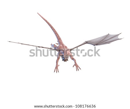 zombie dragon jumping on the air - stock photo