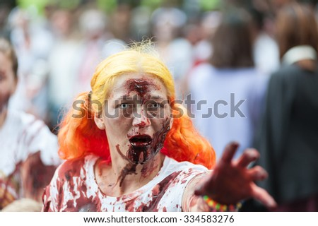Zombie girl at Sydney Zombie Walk in Sydney, AU, 31st October, 2015. Zombie Walk is an annual event where thousands of people get involved to raise awareness for Australia's Brain Foundation. - stock photo