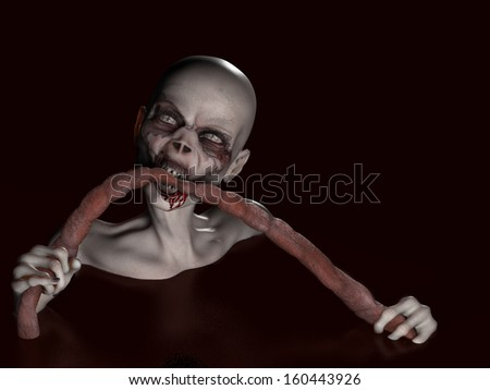 Zombie Girl Eating - A bald zombie girl submerged in a pool of blood dining on intestines. - stock photo