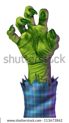 Zombie hand reaching to grab something or someone as a human like green monster hand with sharp nails and stitches with a blue plaid jacket.on a white background representing halloween and fear. - stock photo