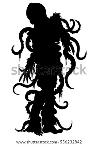 Zombie octopus silhouette. Illustration zombie man with octopus on his head and tentacles entangled his body