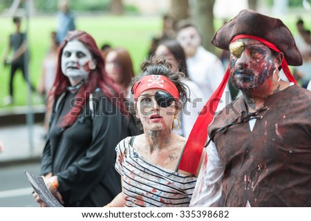 Zombie pirates at Sydney Zombie Walk in Sydney, AU, 31st October, 2015. Zombie Walk is an annual event where thousands of people get involved to raise awareness for Australia's Brain Foundation. - stock photo