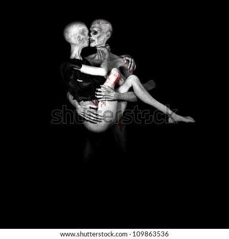 Zombie's in Love: Zombies embracing and looking deeply into each others eye sockets. Monochrome and reds. - stock photo