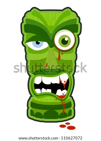 Zombie undead tiki totem vector illustration design