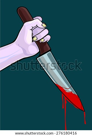 Zombie with a knife (raster version) - stock photo