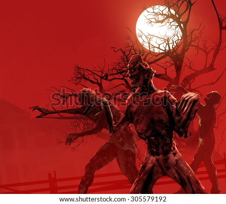Zombies walking. Zombies walking on a red crimson background with full moon, black tree & old house in fog. - stock photo