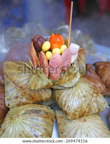 Zongzi , Chinese Rice Dumplings in market - stock photo