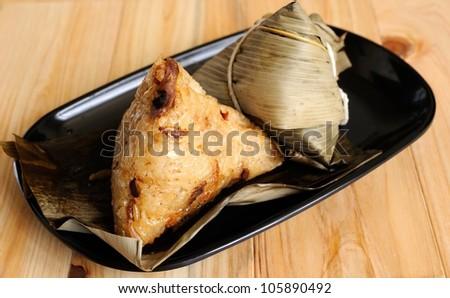 Zongzi, glutinous rice dumpling - stock photo