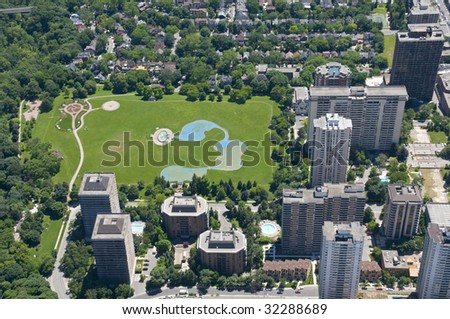 Zoning patterns found in contemporary North American towns and cities. - stock photo