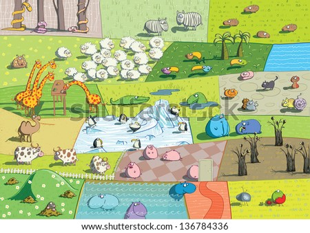 ZOO Landscapes is illustration made as a collage of different ecosystems with funny cartoon animals. (for vector see image 91819631) - stock photo