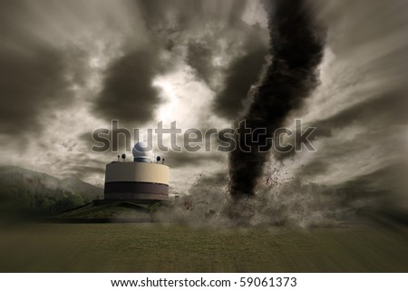 Zoom of a large tornado over a meteo station - stock photo