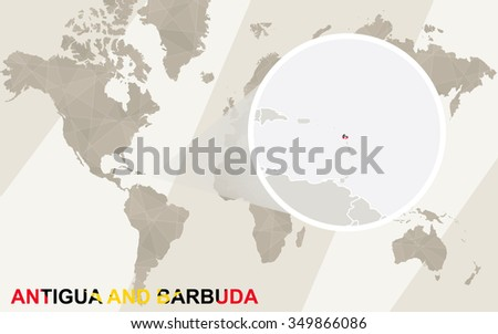 Zoom on Antigua and Barbuda Map and Flag. World Map. Rasterized Copy.
