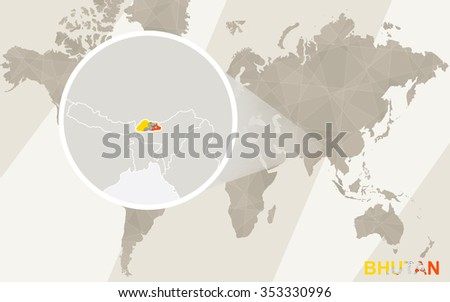 Zoom on Bhutan Map and Flag. World Map. Rasterized Copy. - stock photo