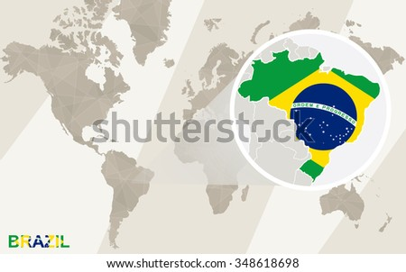 Zoom on brazil map flag world stock illustration 348618698 zoom on brazil map and flag world map rasterized copy gumiabroncs Gallery