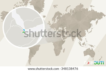 Zoom on Djibouti Map and Flag. World Map. Rasterized Copy. - stock photo